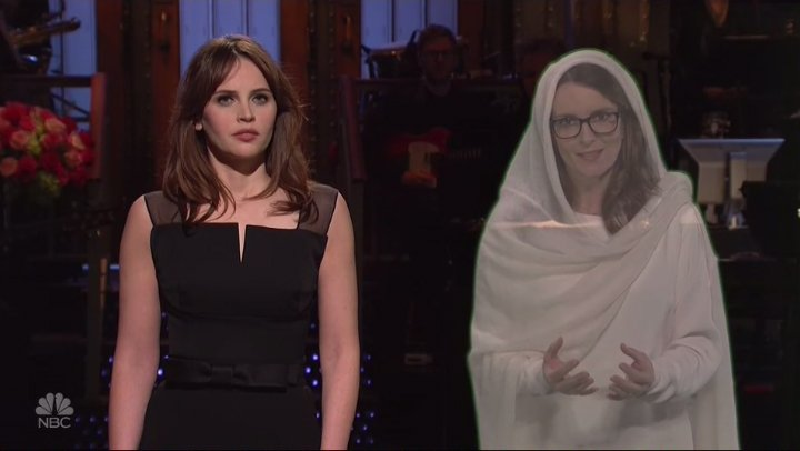 Hologram Tina Fey offers host Felicity Jones advice on first time hosting