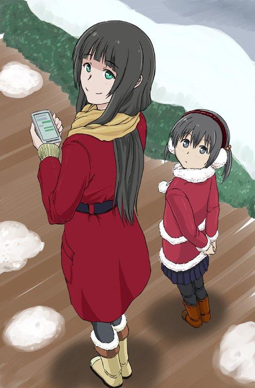 ちょっち、タグつけて再ツブヤキ… 魔女見習いの真琴さんと、居候先の娘さん千夏ちゃんでする(´ω`)#ふらいんぐうぃっち