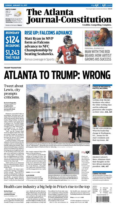 The @ajc front page a day after insults from the president-elect.