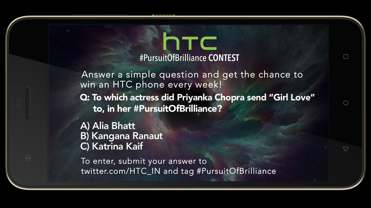 HTC #PursuitOfBrilliance contest is live now @MissMalini @Vh1India #Vh1InsideAccess #HTCDesire10Pro https://t.co/rzbma4P1hW