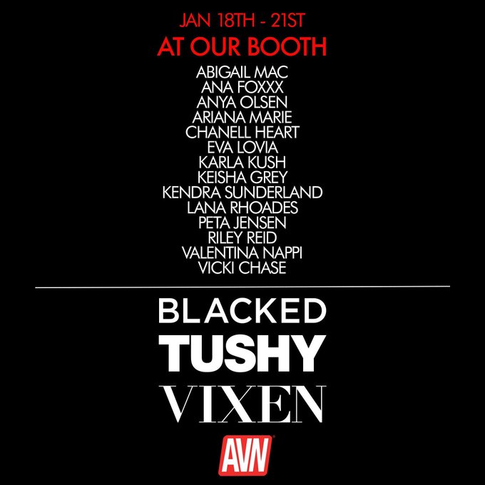 🤤🤤🤤 this list of babes is making me salivate. Come see us at @AEexpo @Blacked_com @tushy_com @vixen_com