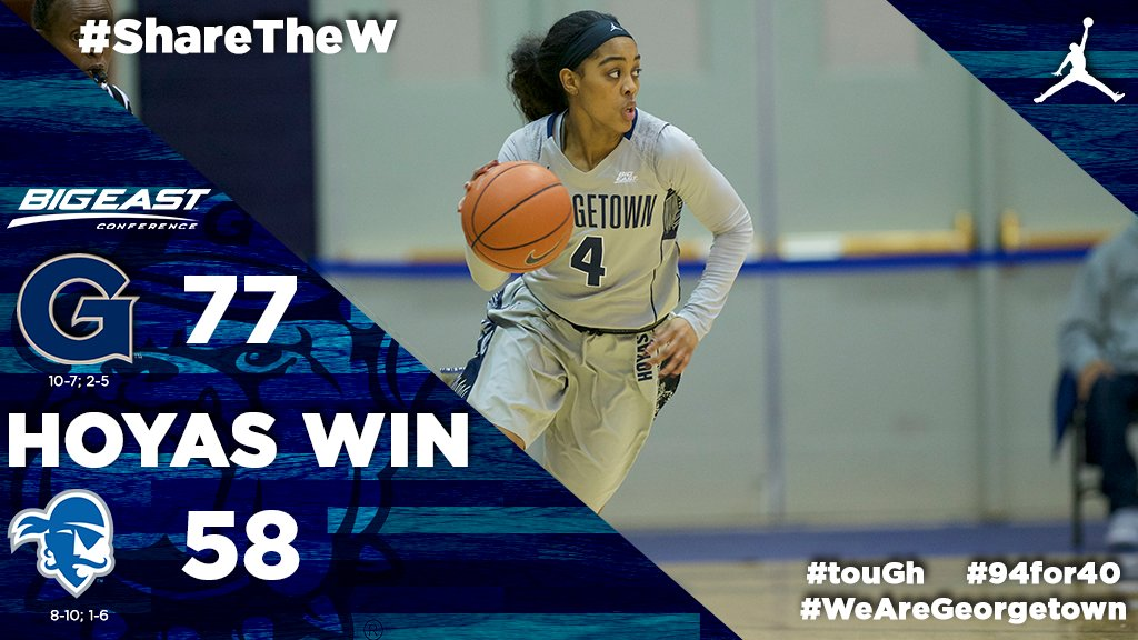 #HOYASWIN! The Hoyas get their 2nd conference win of the season by beating Seton Hall 77-58 #touGH #94for40 #WeAreGEORGETOWN https://t.co/ECQXt1meu9