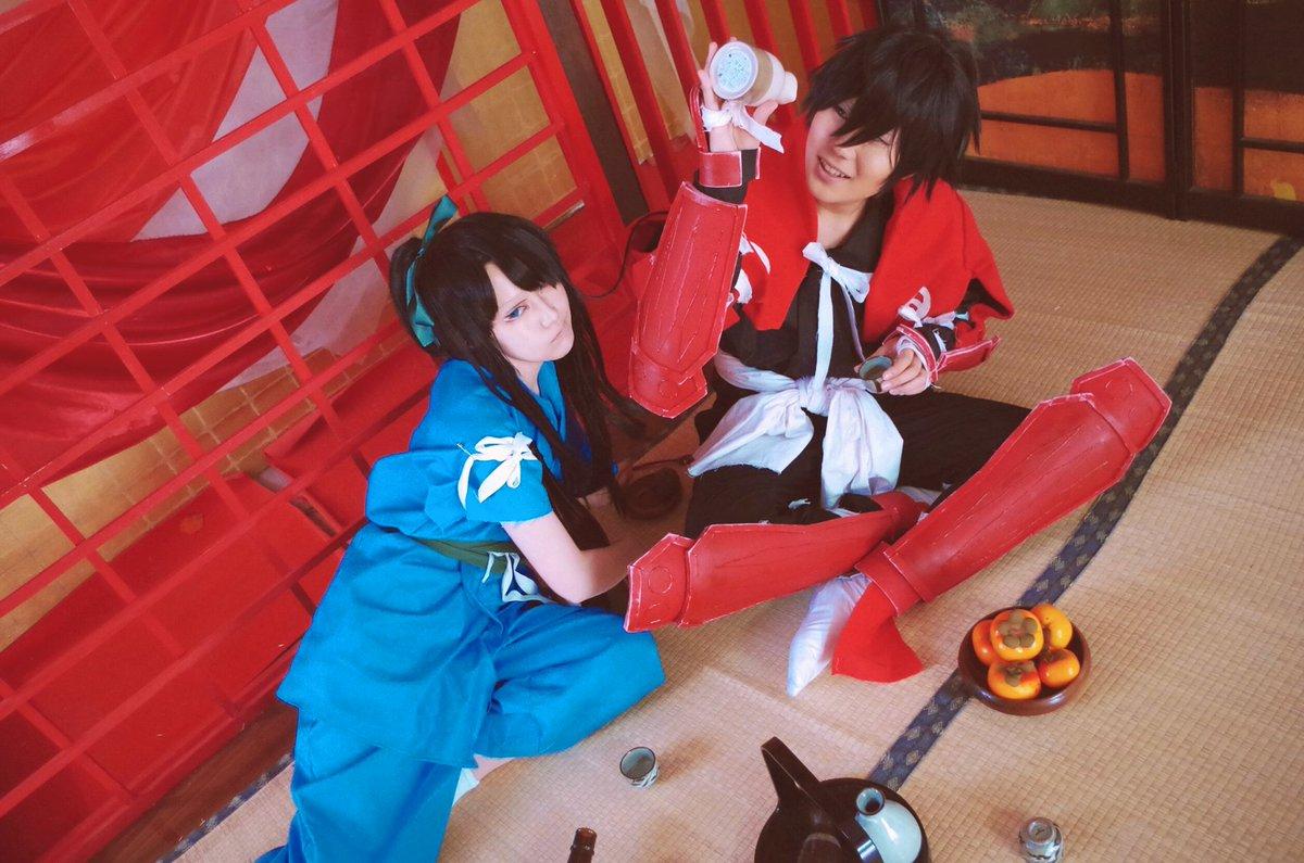 《ドリフターズ》酔っ払い2人組島津豊久:紅いの那須与一:千尋さん( @141_ishii0723 )photo:うさぎの