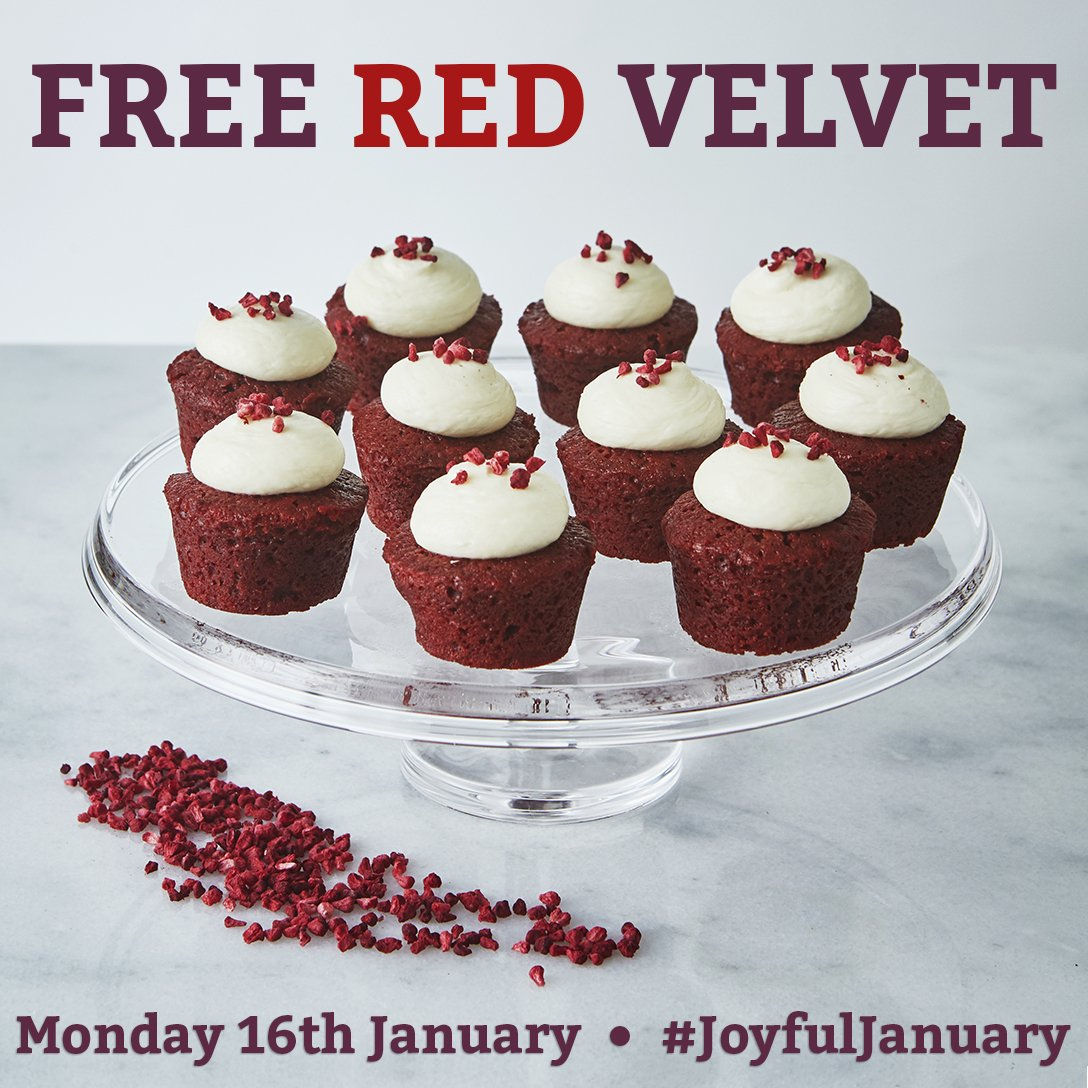 Share/RT this post by 12pm today and you could win one of 12 boxes of 9 Red Velvet Mini Bakes! #JoyfulJanuary https://t.co/9xp4hc5ccp