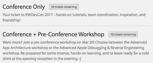 Just 10 tickets left for RWDevCon - don't miss your chance! https://t.co/AaR51pKSLg https://t.co/jS5y5WYhW2