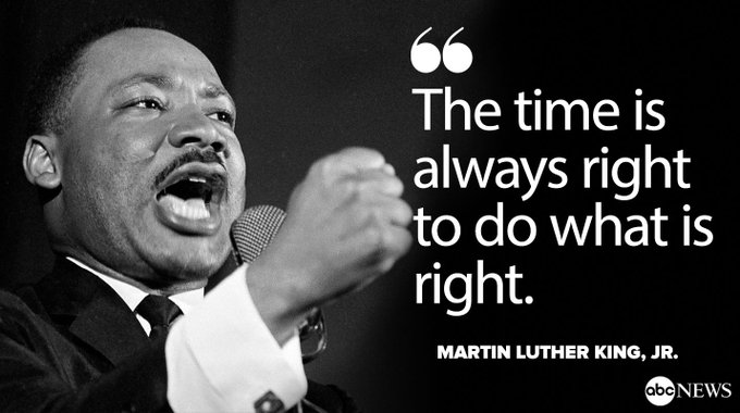 Happy Martin Luther King, Jr. Day: 'The time is always right to do what is right.' https://t.co/7i5AfZdBQ3 #MLKDAY
