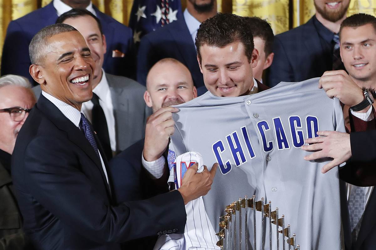 Obama welcomes World Series champs Chicago Cubs at the White House