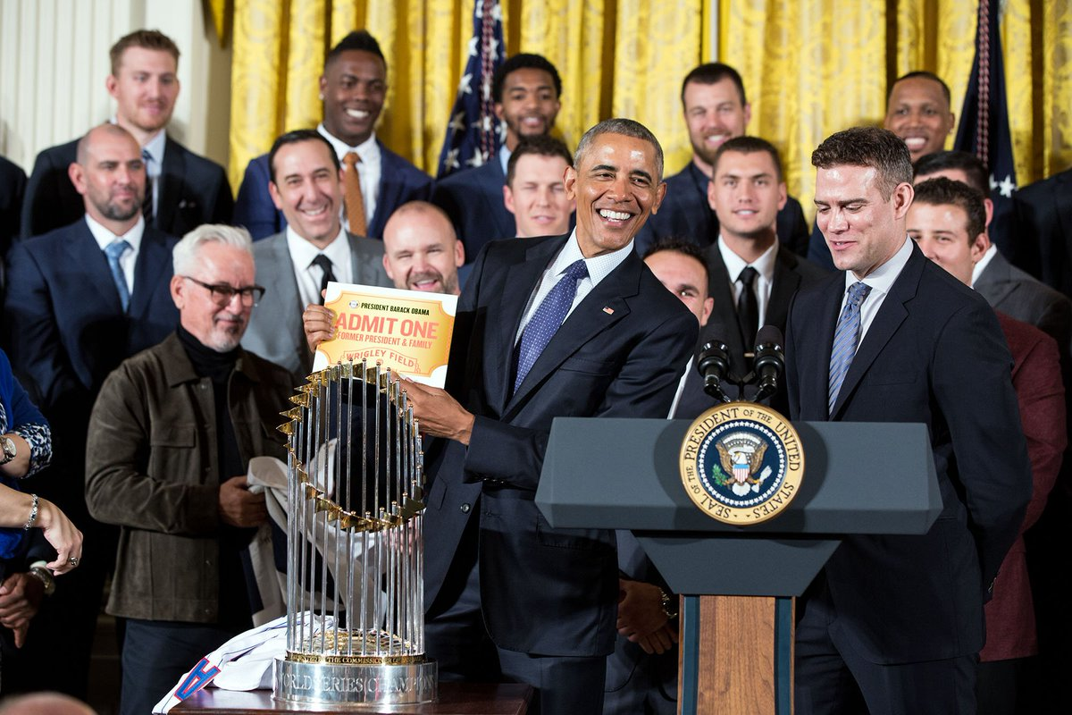 """""""As a new fan, you have some catching up to do."""" The @Cubs present @POTUS with a lifetime pass to Wrigley Field."""