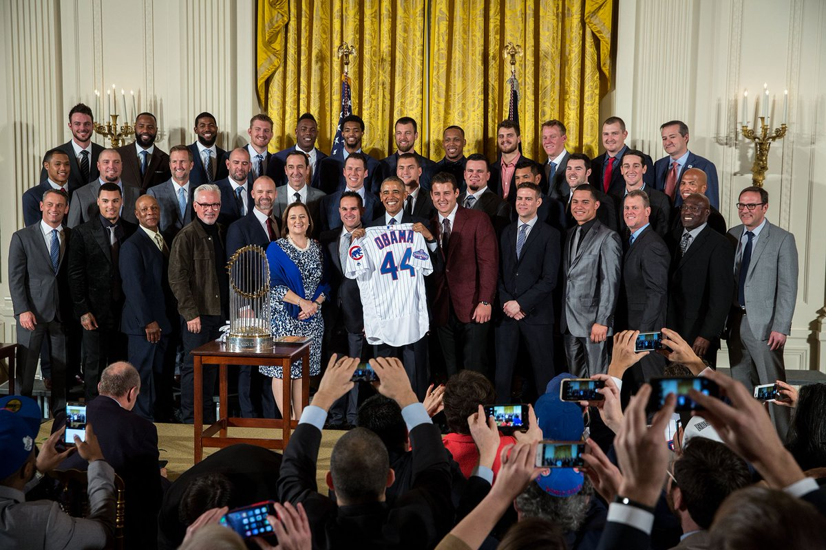 """""""They said this day would never come."""" —@POTUS welcomes the @Cubs to the White House for the first time since 1888."""