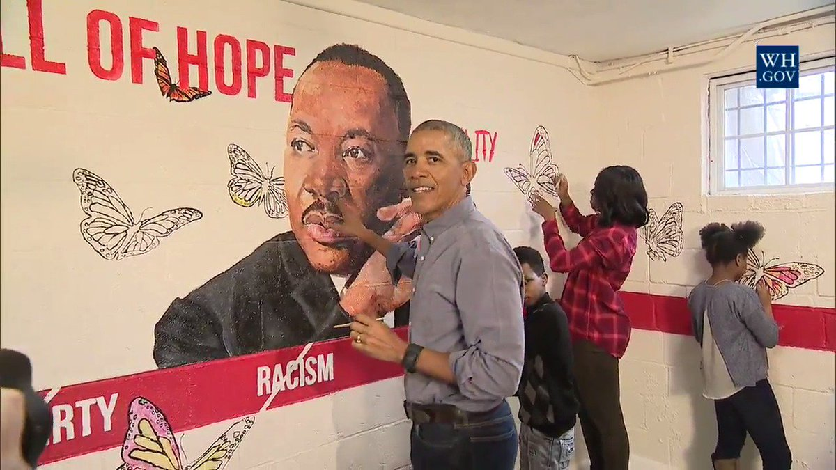 See how @POTUS and @FLOTUS spent the day at Naylor Road Family Shelter in D.C. #MLKDAY