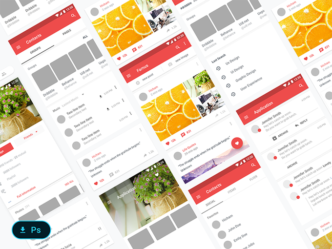 Material design Kits - Freebie   Template by HichamGhil freebie