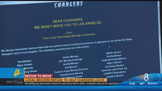 Local moving companies refuse to help Chargers relocate to L.A. https://t.co/tlvkWlNi2J https://t.co/4m0HJ0VGiM