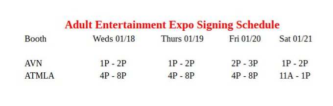 Here is my @AEexpo signing schedule, I hope to see you there! 😘 https://t.co/nllEGZW1a2
