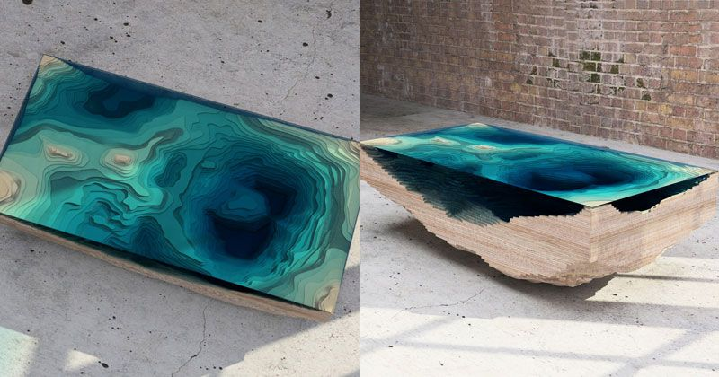 The Abyss Table: Wood and glass coffee table made to represent the depth of the ocean! https://t.co/8jplDKjbek