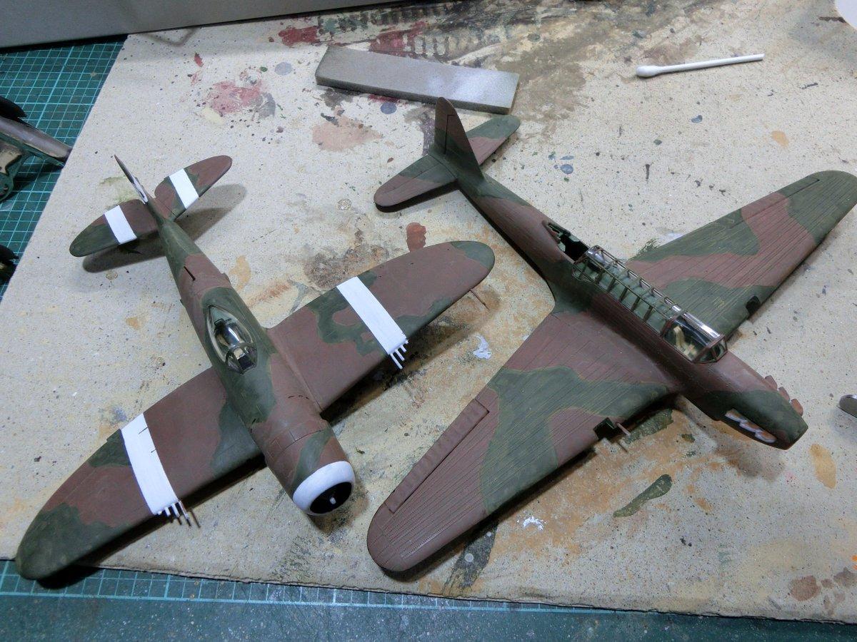 #冬のナナニイ爆撃機祭り ハセガワ1/72サンダーボルトRAFとエアフィックス1・72フェアリー・バトル、退色層を乗せて