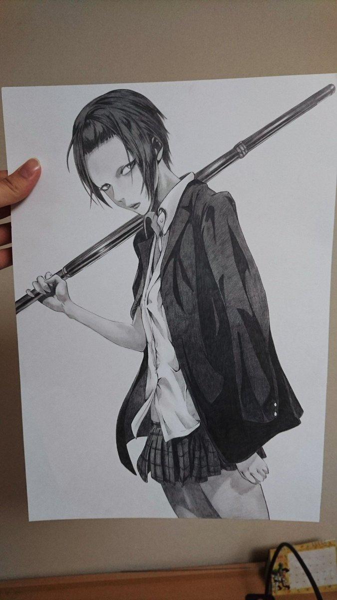 久しぶりのシャーペン絵(゜.゜)監獄学園 リサ 描きました(^-^)v