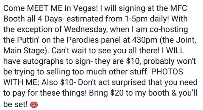 1 pic. AVN Information: •》Signing at MFC Booth •》Estimated 1pm-5pm DAILY •》Autographs & Photos Available