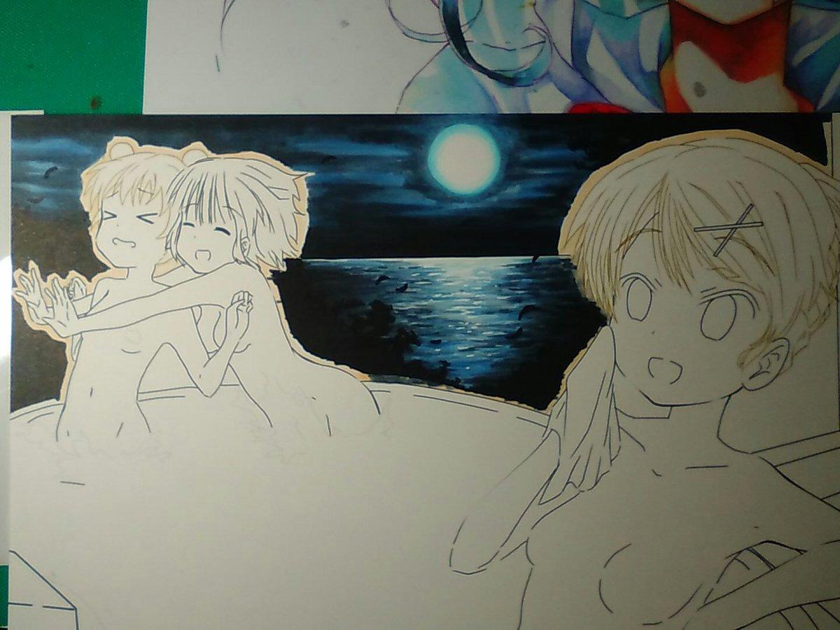バックの背景完成でございます。うん、描き方がわかってきたら描けるもんだな、くらいぶん細かいところまでこだわらなくていいか