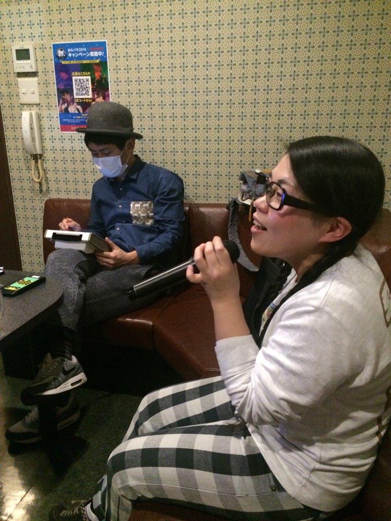同期アニソンカラオケ。新喜劇の岡田直子ちゃんと梅村くんと。ノーゲームノーライフとか悪魔のリドルとかウィクロスとか歌っても