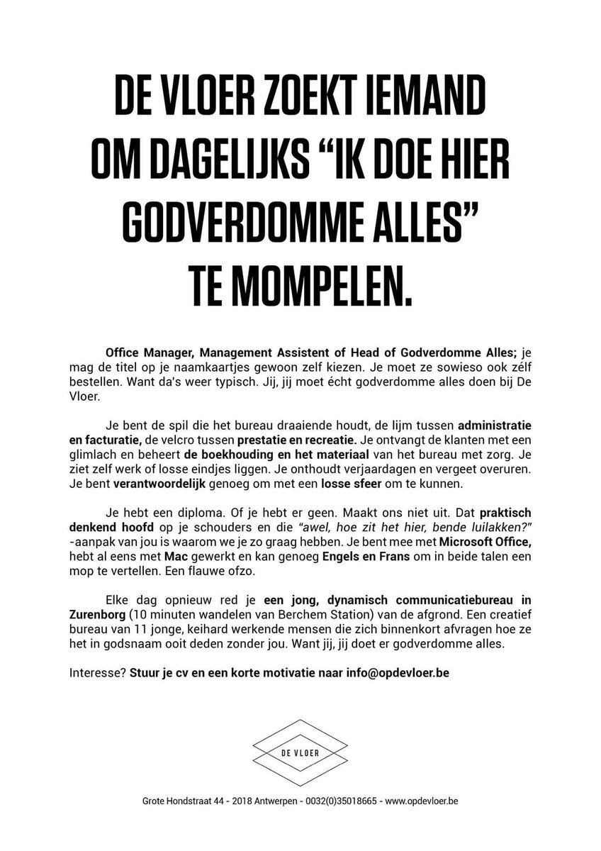 """Want dat taaltje is zo zacht"". Briljante vacature. https://t.co/kYBE2ps9yB"