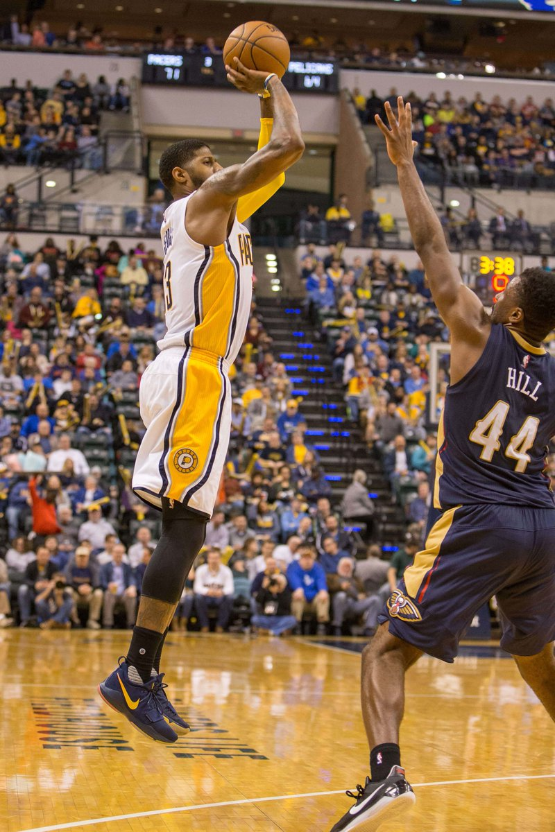 c81eb5c0da2f Paul george debuts the pacers-inspired nike pg 1 pe vs. new orleans ...
