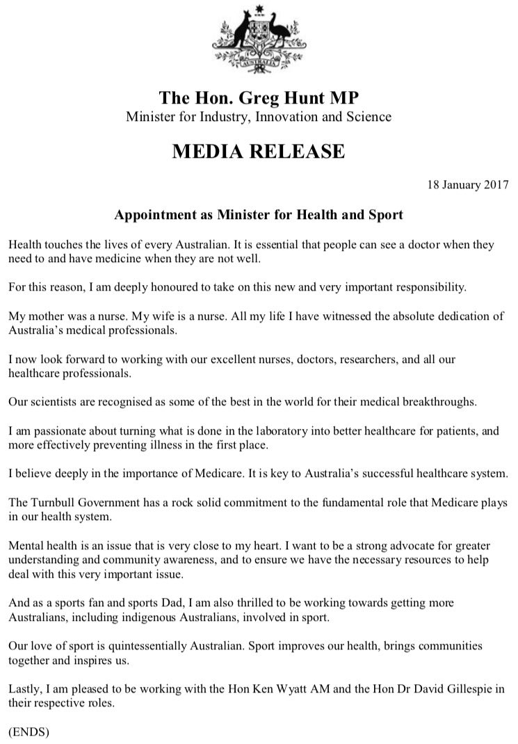 Media release: Appointment as Minister for Health and Sport https://t.co/02C3HM8n44 https://t.co/88kYUHDVVi