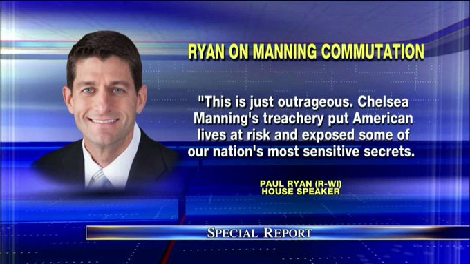 ".@SpeakerRyan on Manning commutation: ""This is just outrageous."" #SpecialReport"
