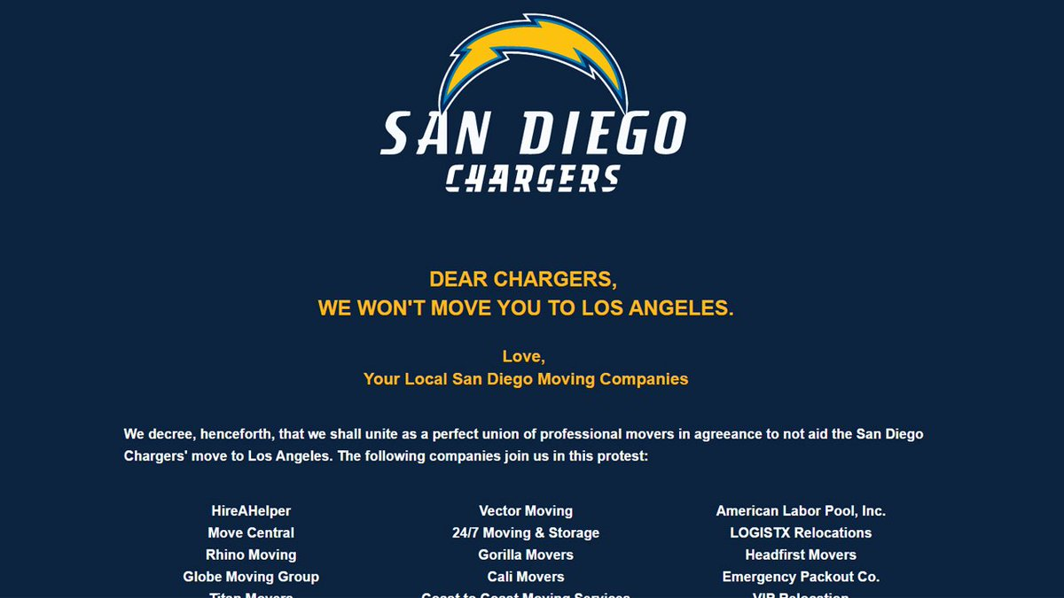 Dozens of companies refuse to help Chargers move from San Diego to LA