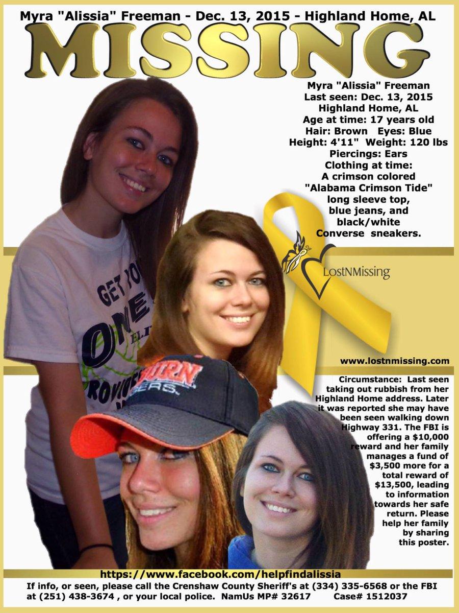"""Missing Myra """"Alissia"""" Freeman – Dec. 13, 2015 – Highland Home, AL https://t.co/fuYIyaCeBd"""