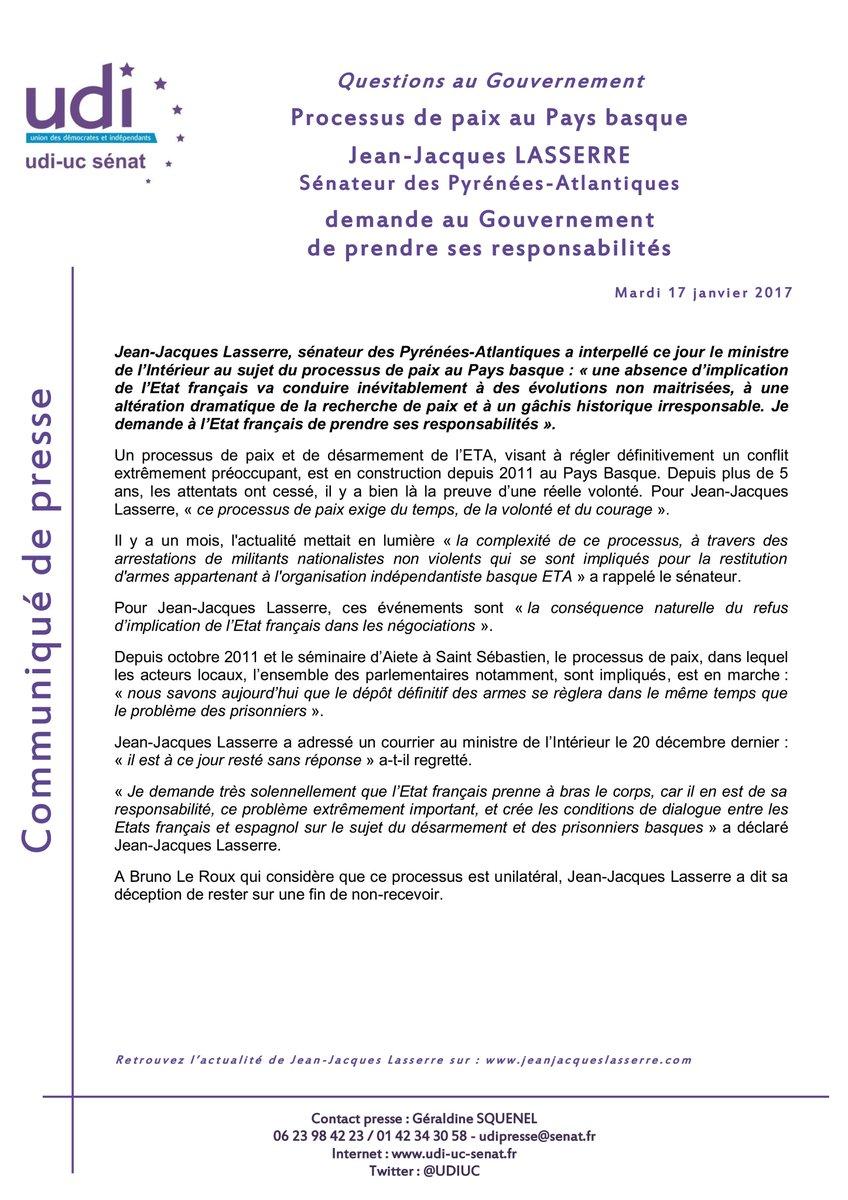 Communiqué de Jean-Jacques Lasserre suite à sa #QAG de hier
