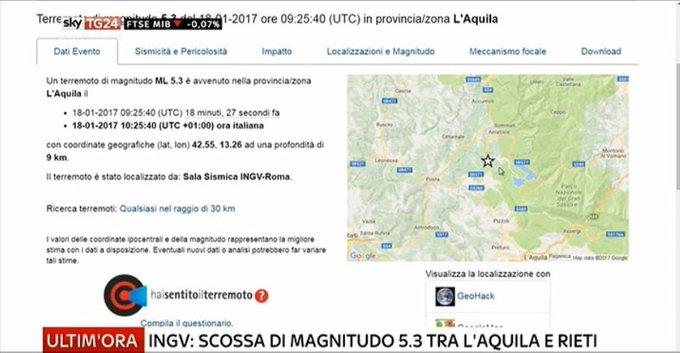 #UltimOra #Terremoto al #CentroItalia, Ingv: scossa di magnitudo 5.3 tra #LAquila e #Rieti #Canale50