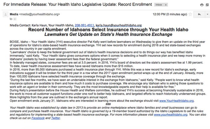 Meanwhile, @YourHealthIdaho, the state's Obamacare exchange, reports 'record' enrollment.