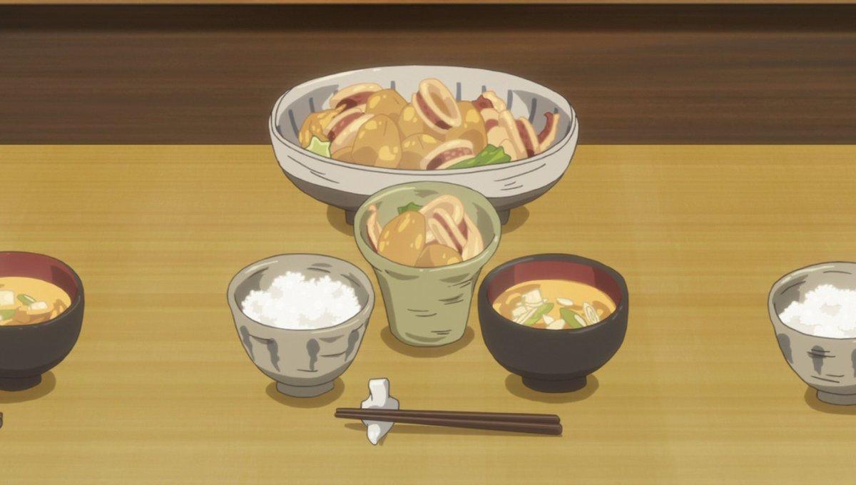 """イカと里芋。冬、あったかく食べたいです。8話""""明日もおいしいイカと里芋の煮物""""#甘々と稲妻"""