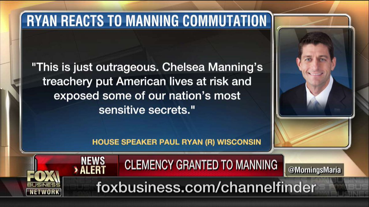 .@SpeakerRyan reacts to Chelsea Manning commutation