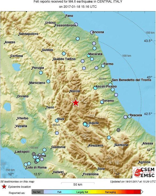 M46 earthquake terremoto strikes 47 km e of terni italy 16