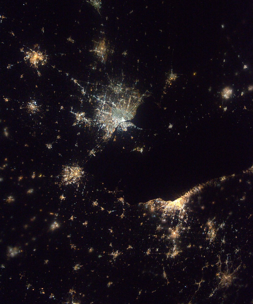 Detroit shines in space station astronaut's photo