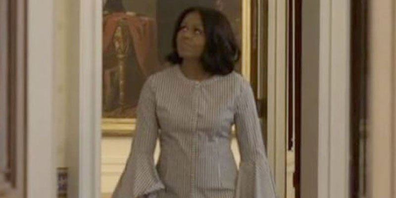 Michelle Obama takes Sunny and Bo for one last walk through the White House