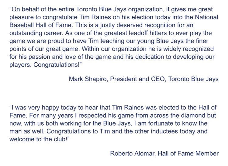 I first want to send a very he tim raines