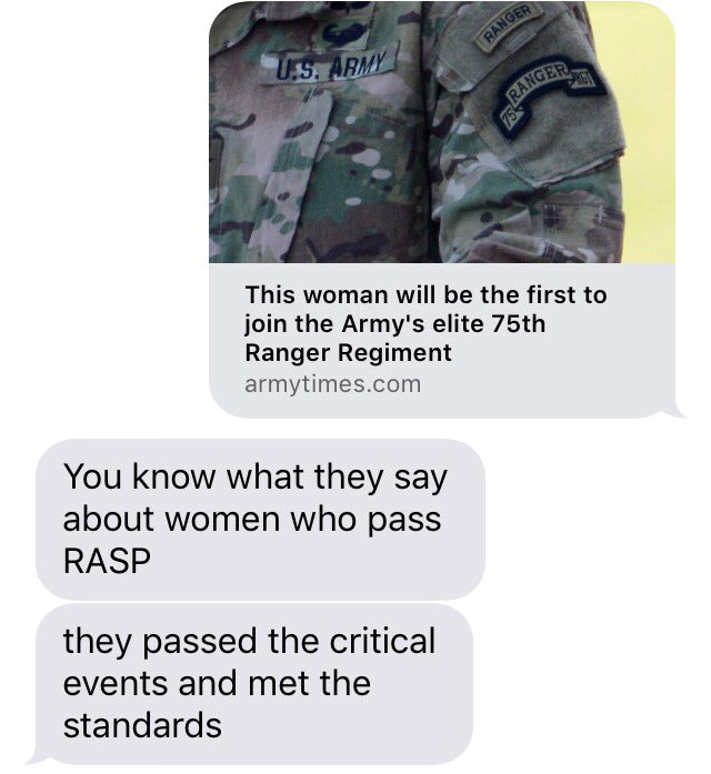 RT @wesleysmorgan: Ranger friend reacts to news of woman soldier reportedly joining Ranger Regiment 🤡 https://t.co/ZqM6iZSBlO