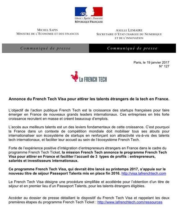 🚀 La #FrenchTech annonce le lancement du programme French Tech Visa au printemps 2017 👉 https://t.co/4Xs8S2zTcj #tech #startup #entreprise