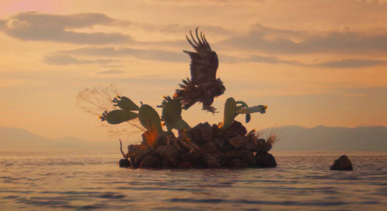 Hermosa recreación de un águila posándose en un islote pedregoso d donde nace un nopal.La mítica fundación de Tenochtitlan y escudo nacional https://t.co/ATLYekaNXd