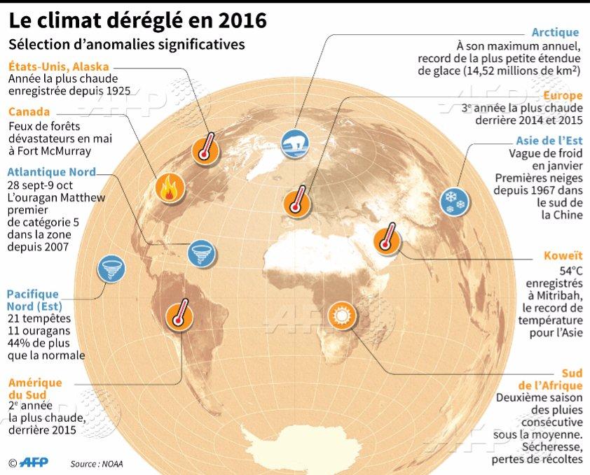 Sélection d'anomalies climatiques significatives sur la planète en 2016 par @AFPgraphics #AFP