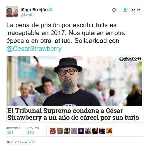 RT @JaimeBN1987: #EntradasVistalegre2 Errejón, pero aclárate. ¿Tuitear es delito o no? https://t.co/3lgDO8Wlmh