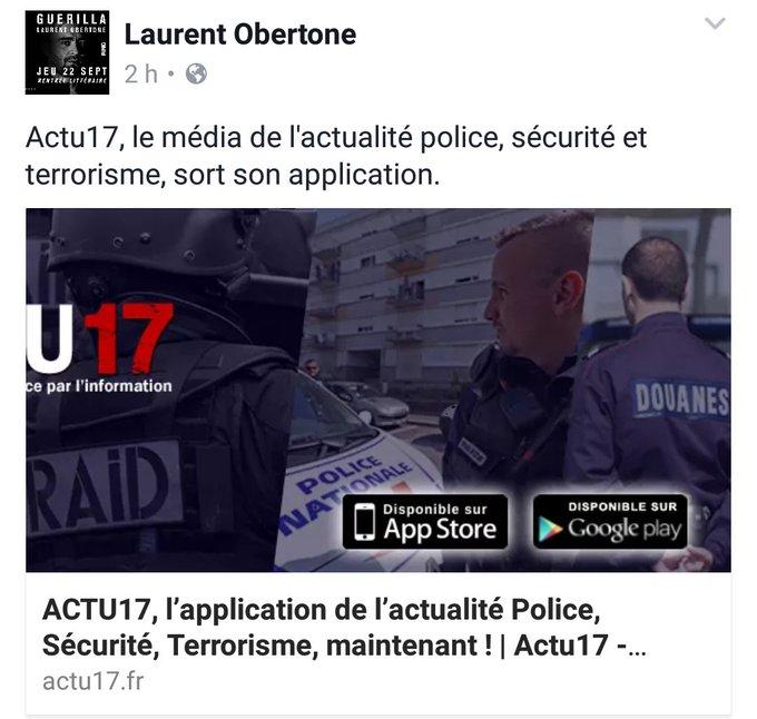 📱 Merci à @LaurentObertone pour son soutien à @Actu17 ! 😉 https://t.co/lAuE0G1Eew #Actu17App