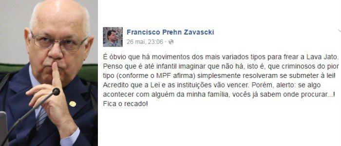 Filho de Teori Zavascki 'Se algo acontecer com alguém da minha família...'. [ @laurojardim]