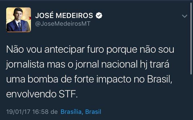 Mais cedo o senador @JoseMedeirosMT afirmou que o JN trairia uma bomba ao Brasil. Como ele ficou sabendo?