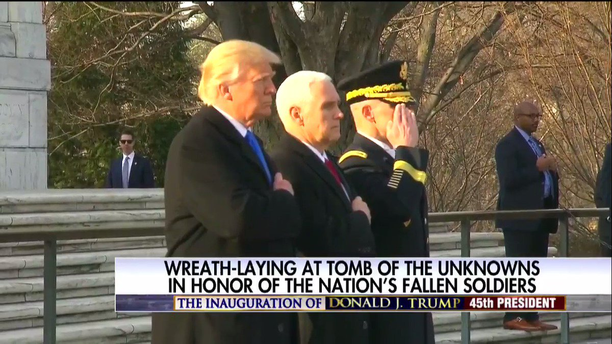 President-elect @realDonaldTrump at the Tomb of the Unknowns in honor of the nation's fallen soldiers.