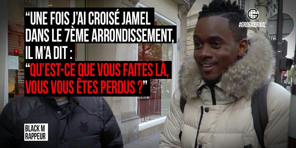 """'Une fois j'ai croisé Jamel dans le 7ème, il m'a dit """"vous vous êtes perdus ?"""" ' - @Bmesrimes au #GrosJournal https://t.co/ukon19t2bH"""