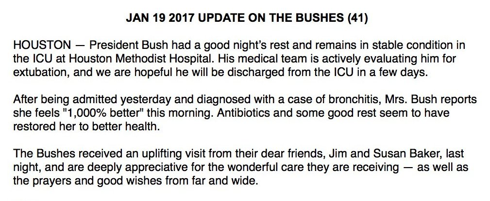 "JUST IN Pres. Bush remains ""in stable condition,"" and Barbara Bush reports feeling ""1,000% better,"" spokesman says."