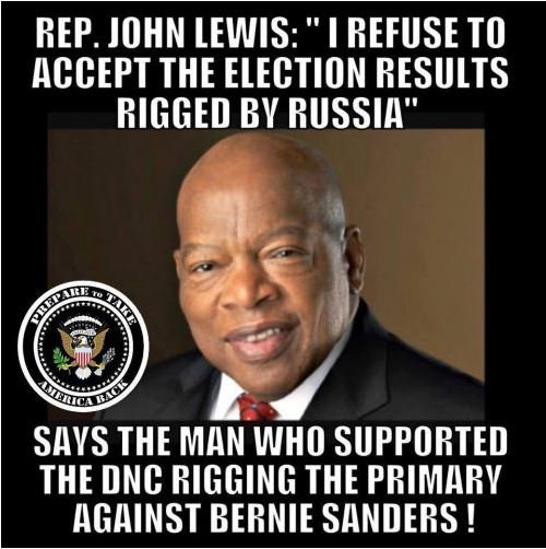 Rep John Lewis only accepts rigging elections when the Democrats do it  #resistance  #Inauguration  #MAGA #Trump
